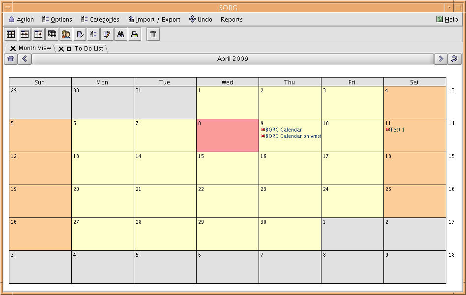 Free softwares for OpenVMS: BORG Calendar